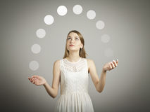 Juggle. Gray balls. Stock Photo