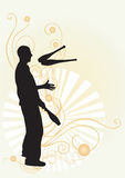 Juggler. Illustration of a juggler and decorative patterns Stock Photo