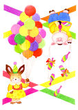 Juggler animals. Module for cloth or paper  with animals with juggling pins and balloons Stock Image