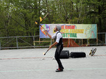 Juggler. With burning torches at the celebration of Lag Ba'Omer in May 18, 2014 in Toronto, Canada Royalty Free Stock Image