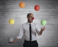 Juggler businessman. Concept easy business with juggler businessman Royalty Free Stock Photos