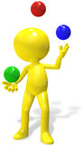 Juggler cartoon 3D person  juggles RGB balls Royalty Free Stock Photos
