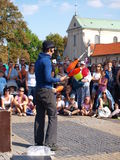 Juggler da rua, Lublin, Poland Foto de Stock