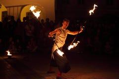 Juggler do fogo Imagens de Stock