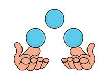 Juggler hands with three blue balls vector illustration Stock Images