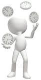 Juggler juggles clocks manage time schedule Stock Photo