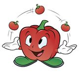 Juggler Pepper. Vector illustration of a cartoon bell pepper juggling three tomatoes Stock Image