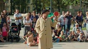 Juggler Performes a Street Show Stock Photo