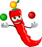 Juggler red hot chili pepper Royalty Free Stock Images
