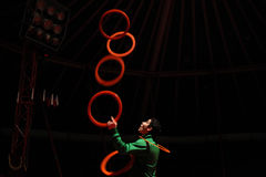Juggler rehearses in the Humberto Circus. Royalty Free Stock Image
