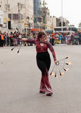 Juggler shows her art for the viewers on the street Stock Photos