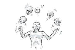 Juggler skulls illustration Royalty Free Stock Photography