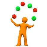 Juggler Smileys. Orange cartoon character juggles with smileys. White background Royalty Free Stock Images