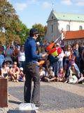 Juggler van de straat, Lublin, Polen Stock Foto