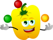 Juggler yellow bell pepper Royalty Free Stock Images