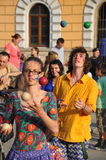Jugglers in action on the street. Stock Photo