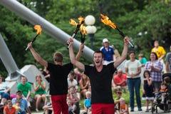 Jugglers in Iowa verklaren Markt Royalty-vrije Stock Foto