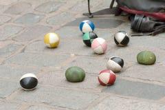 Jugglers soft balls on ground Stock Photo
