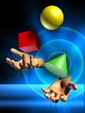 Juggling. Male hands juggling some colorful shapes. Digital illustration Stock Photos
