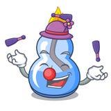 Juggling alcohol burner mascot cartoon. Vector illustration royalty free illustration