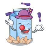 Juggling almond milk in the cartoon shape. Vector illustration royalty free illustration