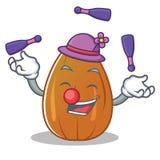 Juggling almond nut character cartoon Royalty Free Stock Photos
