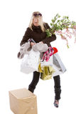 Juggling with bags Stock Images