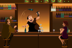 Juggling bartender. A bartender showing off his juggling skill in front of two customers Stock Photography
