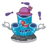 Juggling blue sponge coral under sea cartoon. Vector illustration royalty free illustration