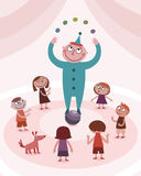 Juggling boy and kids Stock Photography