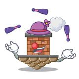 Juggling brick chimney next the cartoon roof. Vector illustration vector illustration