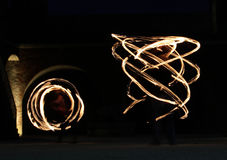 Light painting torches Stock Photos