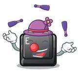 Juggling button E on a game cartoon. Vector illustration vector illustration