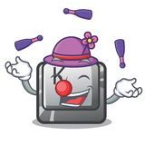 Juggling button K attached to cartoon keyboard. Vector illustration royalty free illustration