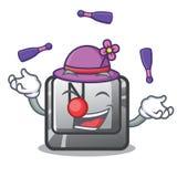 Juggling button N in the cartoon shape. Vector illustration royalty free illustration
