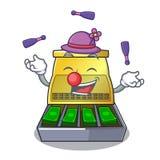 Juggling cartoon cash register with a money drawer. Vector illustration stock illustration