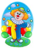 Juggling cartoon clown with balloons Royalty Free Stock Photos