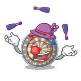 Juggling cartoon dartcoard next to wooden table. Vector illustration vector illustration