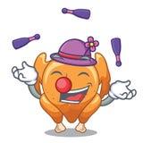 Juggling cartoon roast chicken ready to eat. Vector illustration royalty free illustration