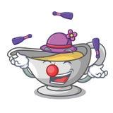 Juggling cartoon sauce boat with cream sauce. Vector illustration vector illustration