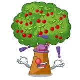 Juggling cherry tree next to cartoon house. Vector illustration vector illustration
