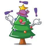 Juggling Christmas tree character cartoon. Vector illustration Stock Photography