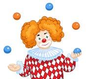 A Juggling Clown. A smiling Clown juggles colored balls Stock Image