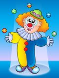 Juggling clown. On blue background - color illustration Royalty Free Stock Photo
