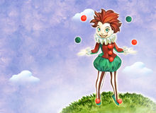 Juggling clown girl Royalty Free Stock Photos