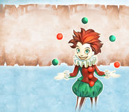Juggling clown girl Royalty Free Stock Images