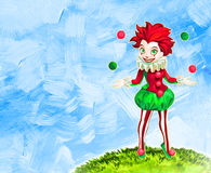 Juggling clown girl Stock Photo