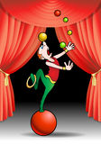 Juggling with color balls acrobat performer. On stage illustration Royalty Free Stock Photo