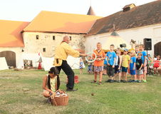 """Juggling competition for kids. Juggler competition for kids arranged by Czech famous juggler Zdenek Vlcek at """"Conquest of water castle Svihov"""" (Czech Republic Royalty Free Stock Photo"""