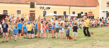 """Juggling competition for kids. Juggler competition for kids arranged by Czech famous juggler Zdenek Vlcek at """"Conquest of water castle Svihov"""" (Czech Republic Stock Photography"""